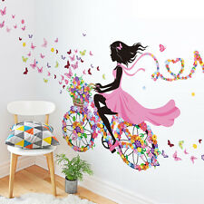 Bicycle Flower Girl Removable Wall Sticker Vinyl Decal DIY Home Art Mural Decor