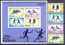 Olympiade 1984, Olympic Games - Kenia - 292-295, Bl.23 ** MNH