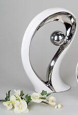 Moderne Skulptur Deko Objekt aus Keramik weiß/silber Höhe 38 cm