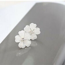 Fashion Women Five Leaf Flower Silver Plated Rhinestone Crystal Stud Earrings