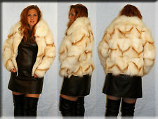 New Golden Island Fox Fur Jacket - Size Small 4 6 S - Efurs4less