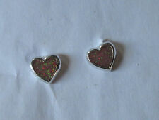 925 silver plated medium purple heart fire opal stud