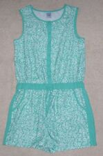 TARGET green and white sleeveless floral print playsuit romper, Suit size 8, EUC