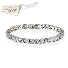 White gold plated crystal tennis bracelet made with Swarovski Elements UK