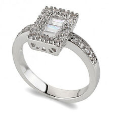 Luxury Engagement Wedding Platinum Plated Ring small size M 16.5 mm FR155