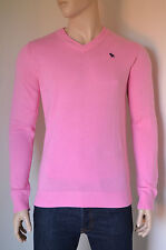 NEW Abercrombie & Fitch Lake Road V-Neck Sweater Cashmere Jumper Pink L