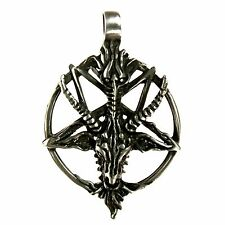 Baphomet Gehörnter Anhänger auf umgekehrtem Pentagramm Zinn Schmuck *376