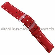 17mm Hirsch Ally Genuine Leather Red With White Stitching Watch Band Fits Swatch