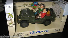 GATE 1.32 DIE-CAST  LAUREL & HARDY ADVENTURES  IN A US ARMY JEEP AWESOME MODEL