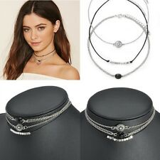 3pcs Retro Charm Jewelry Choker Chunky Statement Bib Pendant Chain Necklace
