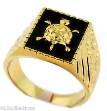 No Stone 16x13 mm Turtle Gold Plated Black Enamel Men Ring Jewelry Size 8