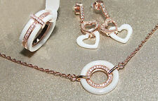 Sophisticated  White Ceramics And Rose Gold 3pcs Ring, Earrings And Bracelet Set
