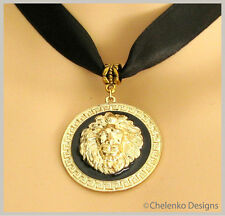Vintage Black Satin Ribbon Gold Plated Black Lion Head Pendant Choker Necklace
