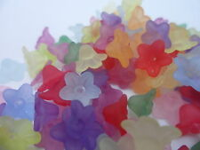 100 x Transparent Frosted Flower Beads~10 x 5mm~ Mixed Colour for craft projects