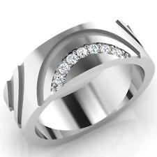 0.11ct Certified Diamond Wedding Mens Rings 14K White Gold I-J/SI1 Size U 3009