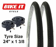 """NEW PAIR OF CYCLE BICYCLE TYRES 24"""" X 1 3/8"""" WITH TWO INNER TUBES & TIRES 37-540"""