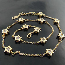 A587 GENUINE 18CT YELLOW G/F GOLD DIAMOND SIMULATED STAR PENDANT NECKLACE CHAIN