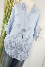 ITALY MODA Bluse FLOWER Stitched Ornament Tunkia Hemd Shirt AZUR L XL 40 42 Top