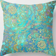 18'' Super Soft Cotton Velvet Bright Cyan Floral Pillow Case Cushion Cover RC8