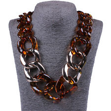 Women's Leopard Acrylic Collar Chunky Choker Statement Chain Necklace Pendant