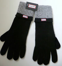 Hunter Boot Co black white gloves cashmere wool blend ladies womens NEW woollen