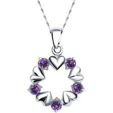 Ladies 925 Sterling Silver Necklace Oval Purple heart Pendant Chain CZ Crystal 5