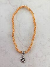 Anklet Beaded 4mm Orange Beads Silver Tone Lucky Four Leaf Clover Charm Bail