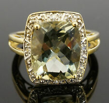 9ct Yellow Gold (6.0ct) Oval Tourmaline Solitaire Ring W/ Diamonds (Size O)
