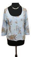 EAST Cardigan Size L Size 14 Sky Blue Floral Designer Cotton Blend