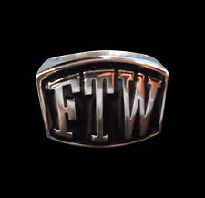 Stainless Steel FTW 'For the Win' Outlaw Biker Ring - Any Size-Free Shipping