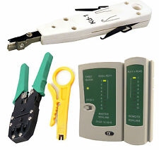 Network LAN Kit: RJ45 Cat5e RJ11 PC Cable Tester Crimping Crimper Punch Tool Set