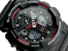 Casio G-Shock Mens Wrist Watch GA100-1A4 GA-100-1A4DR Digital-Analogue Black Red