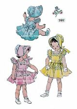 Vintage Simplicity 1950s SEWING PATTERN  Baby Toddler Dress Bonnet Size 1 2 3