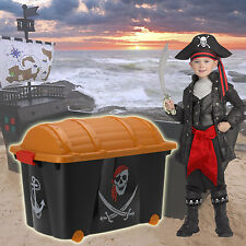 CHILDRENS PIRATE TREASURE STORAGE CHEST BOX CLOTHES BOOKS TIDY WHEELS FURNITURE