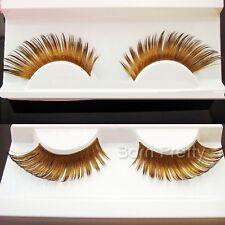 1Pair Gold Long Curly Thick False Fake Eyelash Extension Party Stage Eye Makeup