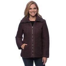 NEW Anne Klein Women's Merlot Small Zip-front Quilted Coat Jacket