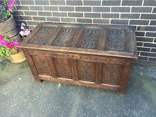 Antique 18th Century Carved Oak Coffer / Chest