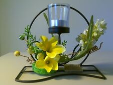 Glass Tealight Candle Holder round frame yellow lily flower Gift Wedding