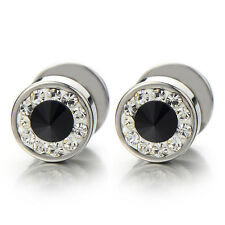 8MM Mens Stud Earrings Steel Cheater Fake Ear Plugs Gauges with CZ, 2pcs