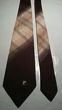 Paco Rabanne Men's Vintage Tie in Shades of Brown with Logo and Pattern