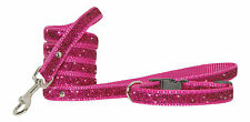 cerise pink sparkle small dog puppy collar and lead 20.3-30.5cm 1.3cm webbing
