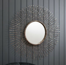 "Bowden Large Round Radial Bronze Metal Star Frame Wall Mirror - 36"" Diameter"