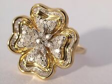 9ct Yellow Gold Clover Diamond Cluster Ring New Boxed