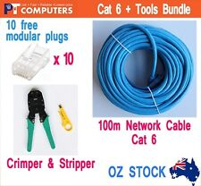 100m Cat6 RJ45 1000mbps LAN Network Cable Cord + Tools Crimper Stripper Bundle