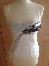 EYE CATCHING KAREN MILLEN CREAM CORSET TOP UK SIZE 10 (MORE LIKE 8) BARELY WORN
