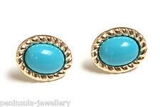 9ct Gold Turquoise Stud Earrings Gift Boxed Made in UK