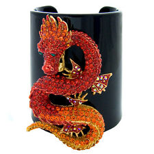 Butler and Wilson Crystal Dragon on Wide Plastic Cuff Bracelet Big Brother NEW