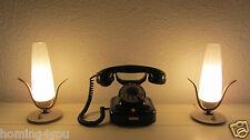 Paar Tisch Lampen Nachttischlampe Messing Opalglas '50er Jahre Leuchten