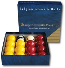 "ARAMITH PRO CUP TOURNAMENT MATCH 2""(51mm) RED & YELLOW POOL BALLS, TV CUE BALL"