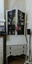 Tall vintage Bureau writing desk Display Cabinet Cupboard Glass Fronted painted